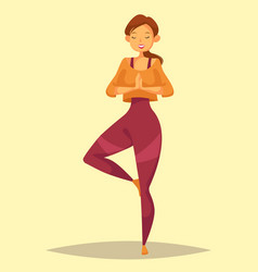 woman or lady girl or female doing yoga training vector image