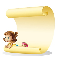 A girl and a paper sheet vector image