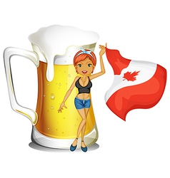 A girl holding the flag of Canada vector image vector image