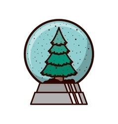crystal ball with christmas tree inside vector image vector image