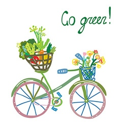 Go green eco card with bicycle and organic food vector image vector image
