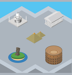 isometric travel set of coliseum india mosque vector image vector image