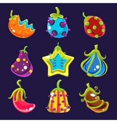 Set Colorful fantasy fruits vector image