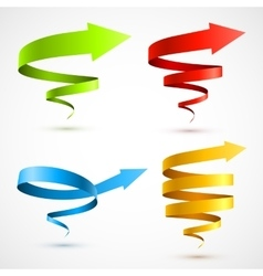 Set of colorful spiral arrows vector image