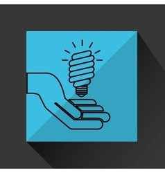 silhouette hands environmentally friendly bulb vector image