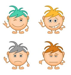 smilies girls set vector image vector image