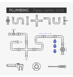 thin line icons of plumbing items vector image