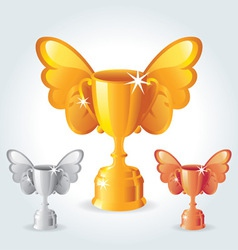 trophies with wings vector image vector image