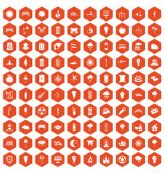 100 street lighting icons hexagon orange vector