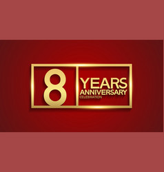 8 years anniversary logotype with golden color vector