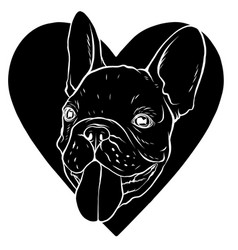 a black silhouette pug s vector image