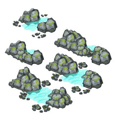 A set of grey boulders covered with silt isolated vector
