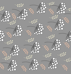 Abstract branches rowan berries on a gray backg vector