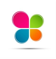 abstract color logo in the shape of a cloverleaf vector image
