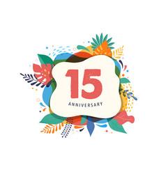 Anniversary celebration tropical floral frame vector