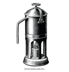 antique engraving espresso maker black and vector image