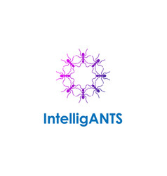 Ants gruop together shape circle logo design vector