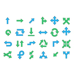 Arrows colorful icons set vector