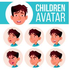 asian boy avatar set kid kindergarten vector image