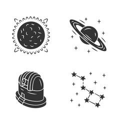 Astronomy glyph icons set space exploration sun vector