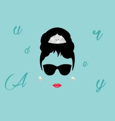 audrey minimalist portrait in black glasses vector image