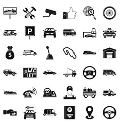Automobile icons set simple style vector