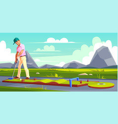 background with golf player on field vector image