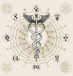 banner with hermes staff caduceus and runes vector image