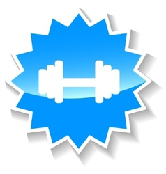 Barbell blue icon vector
