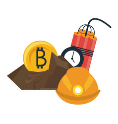Bitcoin mining with helmet and tnt vector