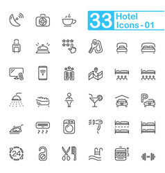 Black hotel line icons vector