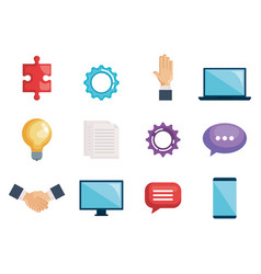 Business teamwork set icons vector