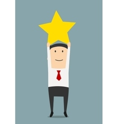 Businessman get a golden star trophy vector