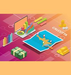 Calcutta india city isometric financial economy vector