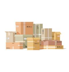 Cardboard boxes stacked carton box pile fragile vector