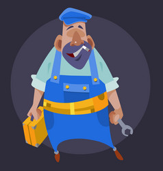 cartoon male plumber with tools in his hands vector image