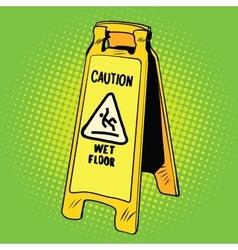 Caution wet floor sign vector