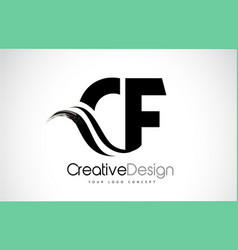 Cf c f creative brush black letters design with vector