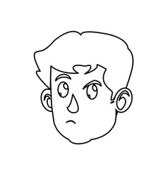 Character face head boy kid outline vector