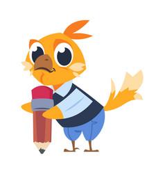 chicken kid at school cartoon bird holding pencil vector image