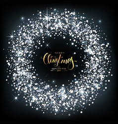 christmas background with silver sparkles with vector image