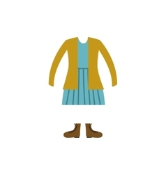 Color silhouette with female clothing retro vector