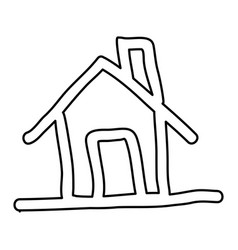 contour house with chimney icon flat vector image