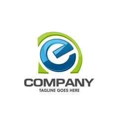 creative letter e colorful logo design vector image