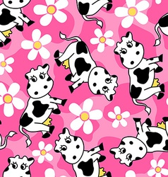 Cute cow and flowers seamless pattern vector image