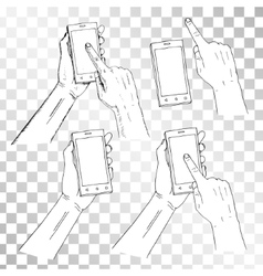 Drawn hand holding phone finger on phone pressing vector