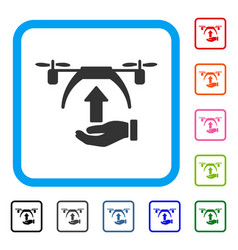 Drone takeoff framed icon vector