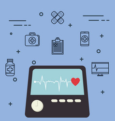 Ekg machine with medical healthcare icons vector
