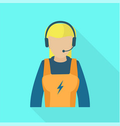 electric call center woman icon flat style vector image