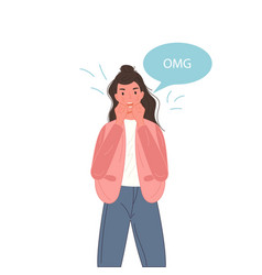 emotional omg woman face with speech bubble vector image